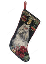 Needlepoint Christmas Dog Breed Stocking -Maltese With Ornaments