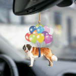 Saint Bernard Fly With Bubbles Dog Hanging Ornament-2D Effect