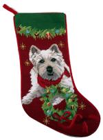 Needlepoint Christmas Dog Breed Stocking - Westie With Wreath