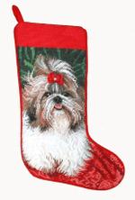 Needlepoint Christmas Dog Breed Stocking - Shih Tzu With Red Bow