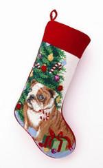 Needlepoint Christmas Dog Breed Stocking - Bulldog + Tree