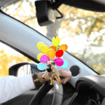 Mixed Breed Poodle Dog Fly With Bubbles Car Hanging Ornament-2D Effect
