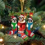 St Bernard Christmas Socks Ornament