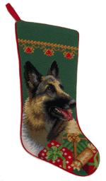 Needlepoint Christmas Dog Breed Stocking - German Shepherd + Presents