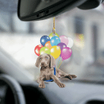 weimaraner fly with bubbles dog hanging ornament-2D Effect