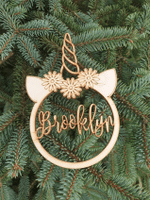 Personalized Hanging Christmas Unicorn Wooden Ornament