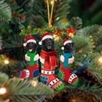 Black Labrador Christmas Socks Ornament