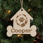Personalized Pet Christmas Ornament Engraved Wood - Dog House