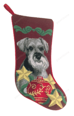 Needlepoint Christmas Dog Breed Stocking - Schnauzer With Stars