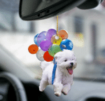 Maltese fly with bubbles dog hanging ornament-Flat 2D Effect