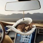 Brown chihuahua sleeping angel dog moms ornament cus