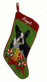 Needlepoint Christmas Dog Breed Stocking -Boston Terrier With Candles
