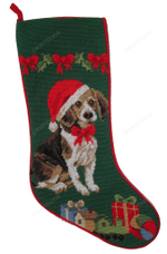 Needlepoint Christmas Dog Breed Stocking -Beagle With Santa Hat