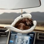 Chocolate labrador retriever sleeping angel chocolate Lab lovers dog moms ornament