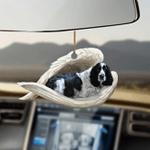 Black and white English springer sleeping angel dog mom ornament cus tjl