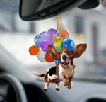 Basset Hound Dog Fly With Bubbles Car Hanging Ornament-2D Effect.