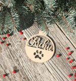 Personalized Hanging Christmas Dog Paw Print Wooden Ornament