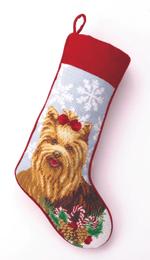 Needlepoint Christmas Dog Breed Stocking -Yorkie With Snowflakes