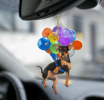Miniature Pinscher Dog Fly With Bubbles Car Hanging Ornament-2D Effect
