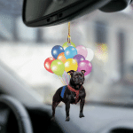 Staffordshire Bull Terrier02 fly with bubbles dog hanging ornament-2D Effect