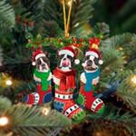 Boston Terrier Christmas Socks Ornament