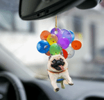 Pug Dog Fly With Bubbles Car Hanging Ornament-2D Effect