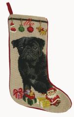 Needlepoint Christmas Dog Breed Stocking -Black Pug With Ornaments