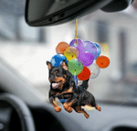 Rottweiler Dog Fly With Bubbles Car Hanging Ornament-2D Effect