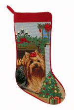 Needlepoint Christmas Dog Breed Stocking -Yorkie + Fireplace