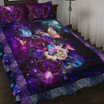 Galaxy Rose Butterfly Printed Bedding Set Bedroom Decor
