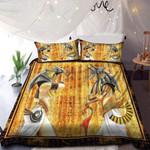 Anubis Ancient Egyptian Gold Bedding Custom Name Duvet Cover Bedding Set #DH