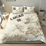 Football Sketch Players Custom Duvet Cover Bedding Set withYour Name And Number #V