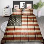 American Flag Wood Printed Bedding Set Bedroom Decor