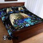 Flowery Fantasy Dragon Black Baby Blue Bedding Set XXEF