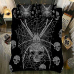 Black And Grey Spider Skull Printed Bedding Set Bedroom Decor