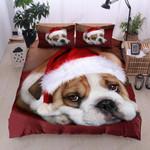 Bulldog Christmas Hat Printed Bedding Set Bedroom Decor