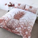 Pineapple Zig Zag Brown And White Printed Bedding Set Bedroom Decor