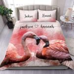 Art pinkCouple of flamingos loving Duvet Cover Bedding Set #0805l
