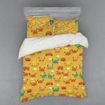 Crabs Pattern Yellow Printed Bedding Set Bedroom Decor