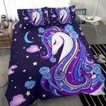 Purple Unicorn Duvet Cover Blue Unicorn with Stars Custom Name Duvet Cover Bedding Set #2711DH