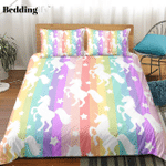 Rainbow Stripes Unicorn CD Bedding Set INKPGG