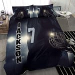 BlackHockey player with helmet Custom Duvet Cover Bedding Set withYour Name #17l
