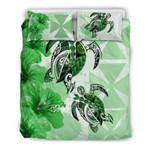 Polynesian Wallis And Futuna Polynesia Turtle Hibiscus Green A Bedding Set CAMLI PTL