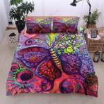 Red Butterflies Printed Bedding Set Bedroom Decor