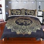 Golden Elephant Mandala Printed Bedding Set Bedroom Decor