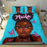 Black girl high puff hairstyle with butterflyAfrican ustom Name Duvet Cover Bedding Set #2206v