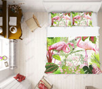 Two Flamingos Leaves Printed Bedding Set Bedroom Decor 01