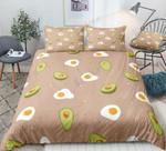 Cartoon Avocados Eggs Pattern Printed Bedding Set Bedroom Decor 01