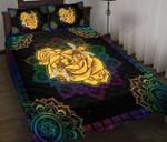 Bee Yellow Rose Lotus Mandala  Bedding Set Bedroom Decor