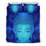 Blue Buddha Face Printed Bedding Set Bedroom Decor 01